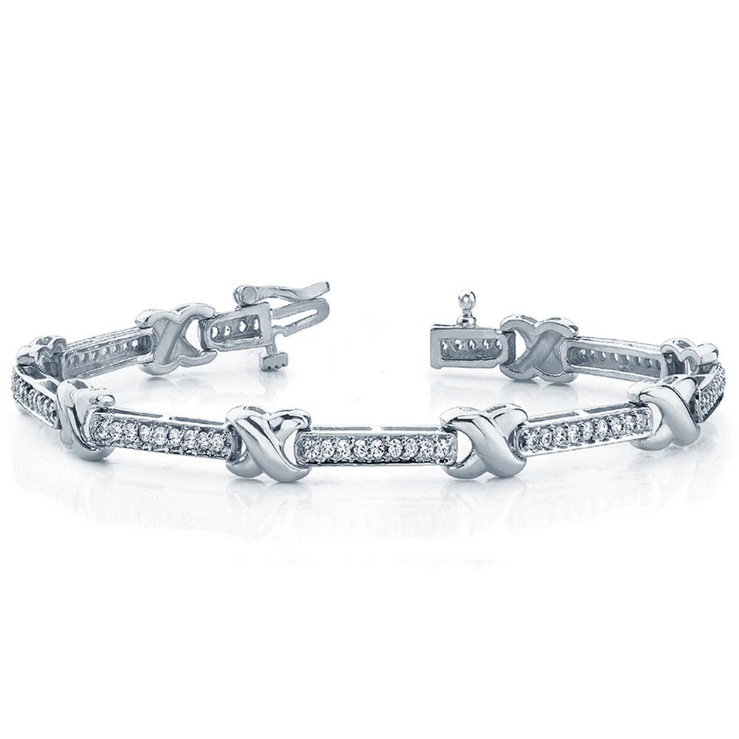 14k Fashion X Diamond Tennis Bracelet