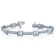 14k Fashion X Diamond Tennis Bracelet