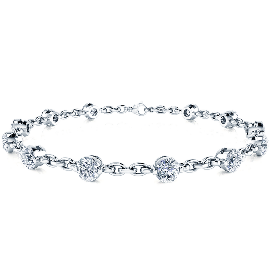 14k Bezel Chain Link Diamond Tennis Bracelet
