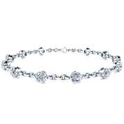 14k Bezel Chain Link Diamond Tennis Bracelet
