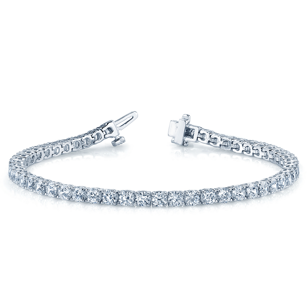 14k Prong Set Round Diamond Tennis Bracelet