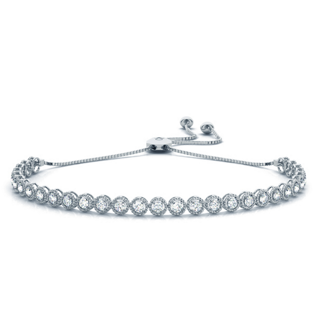 14k Milgrain Adustable Diamond Bracelet