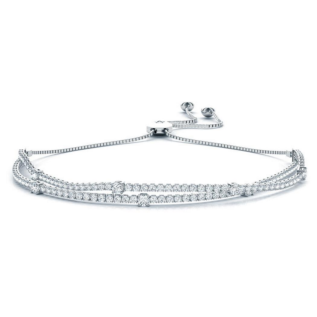 2ctw Two Row Adjustable Diamond Tennis Bracelet