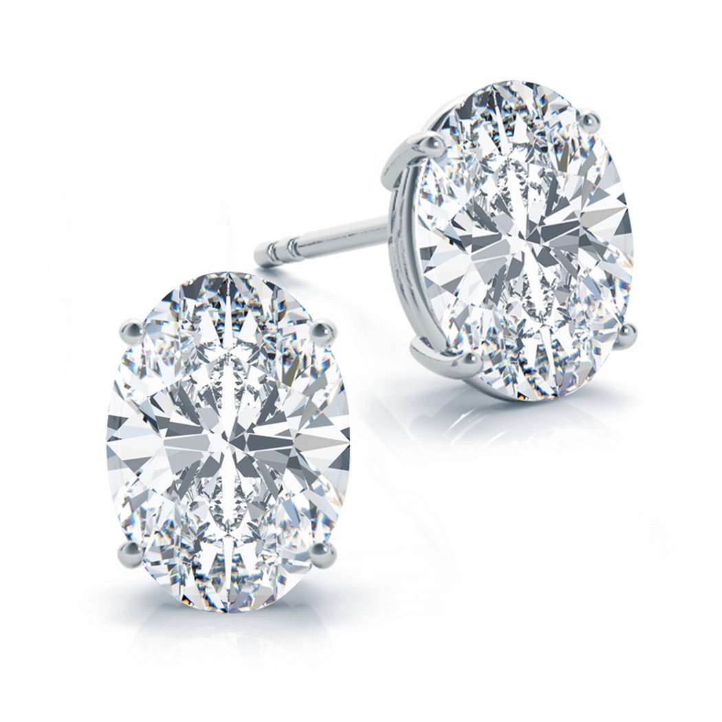 14k Oval Diamond Earrings Four Prong