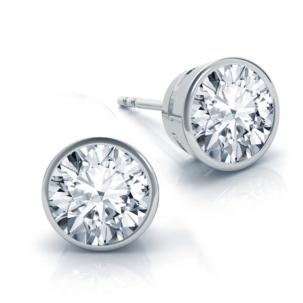 Bezel Round Diamond Stud Earrings