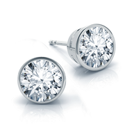 Bezel Round Diamond Stud Earrings