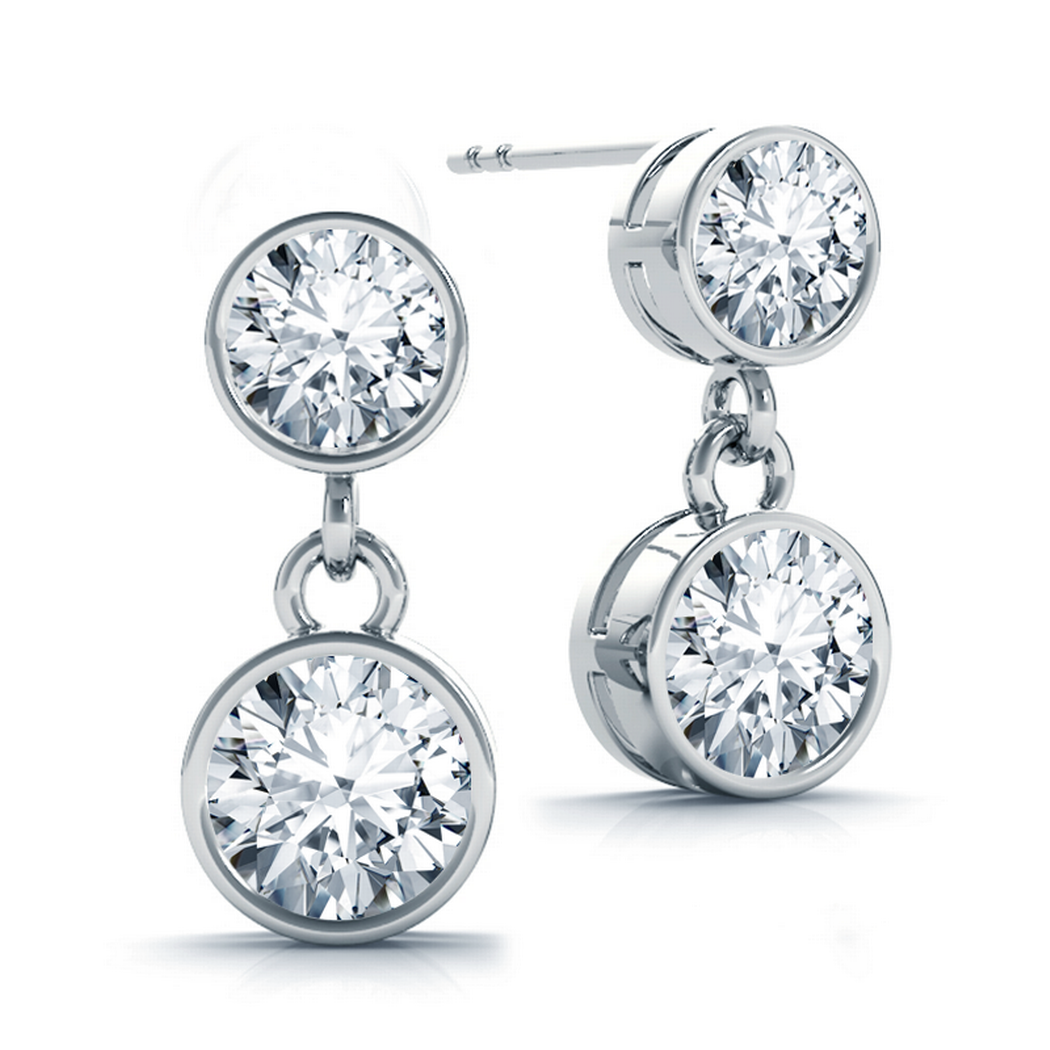 1.00 ct tw Round Bezel Drop Diamond Stud Earrings