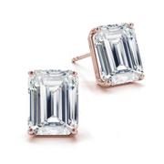 14k Emerald Diamond Stud Earrings Four Prong