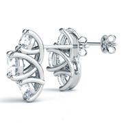 14k Vertical Three Stone Round Diamond Earrings