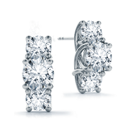 14k Vertical Three Stone Round Diamond Earrings