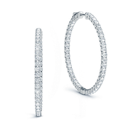 14k Diamond Inside Out Hoop Earrings