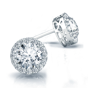 14k Round Diamond Halo Stud Earrings