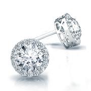 14k Round Diamond Halo Stud Earrings