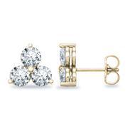 1/5ctw Round 3 Stone Diamond Earrings