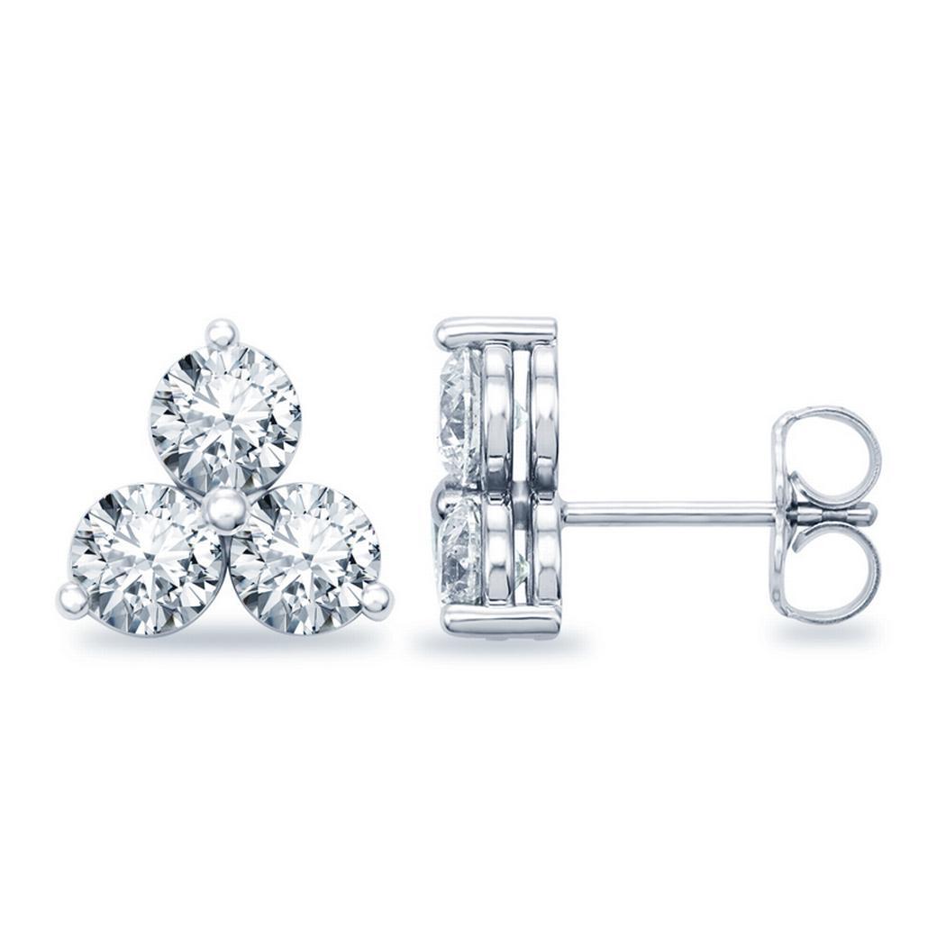 Round 3 Stone Diamond Earrings