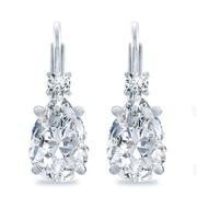 Diamond Pear Basket Earrings, Lever Back