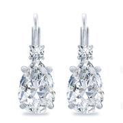 Diamond Pear Basket Earrings, Lever Back