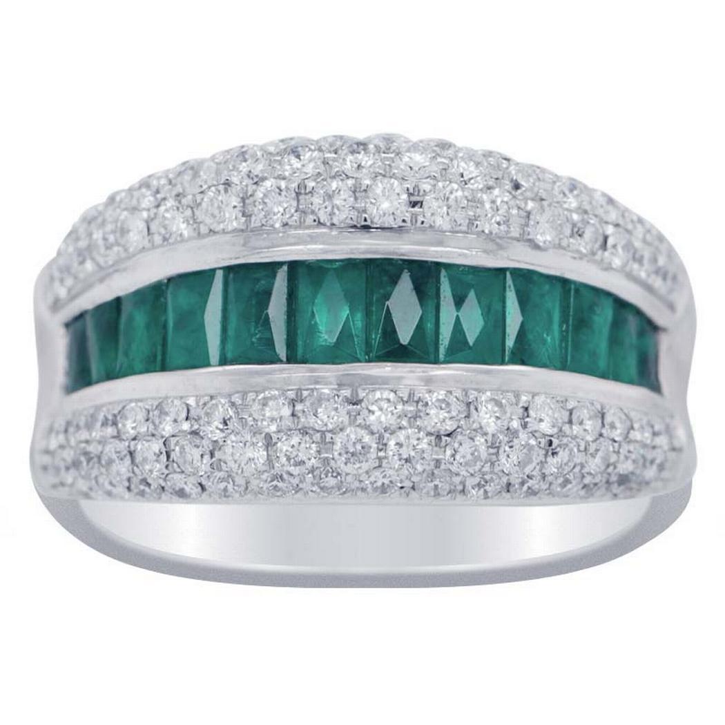 Emerald and Diamond Ring 0.65ctw