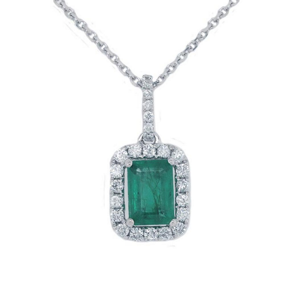 0.84ct Emerald Halo Pendant Necklace