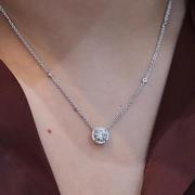 0.79ct Round Halo Pendant Necklace