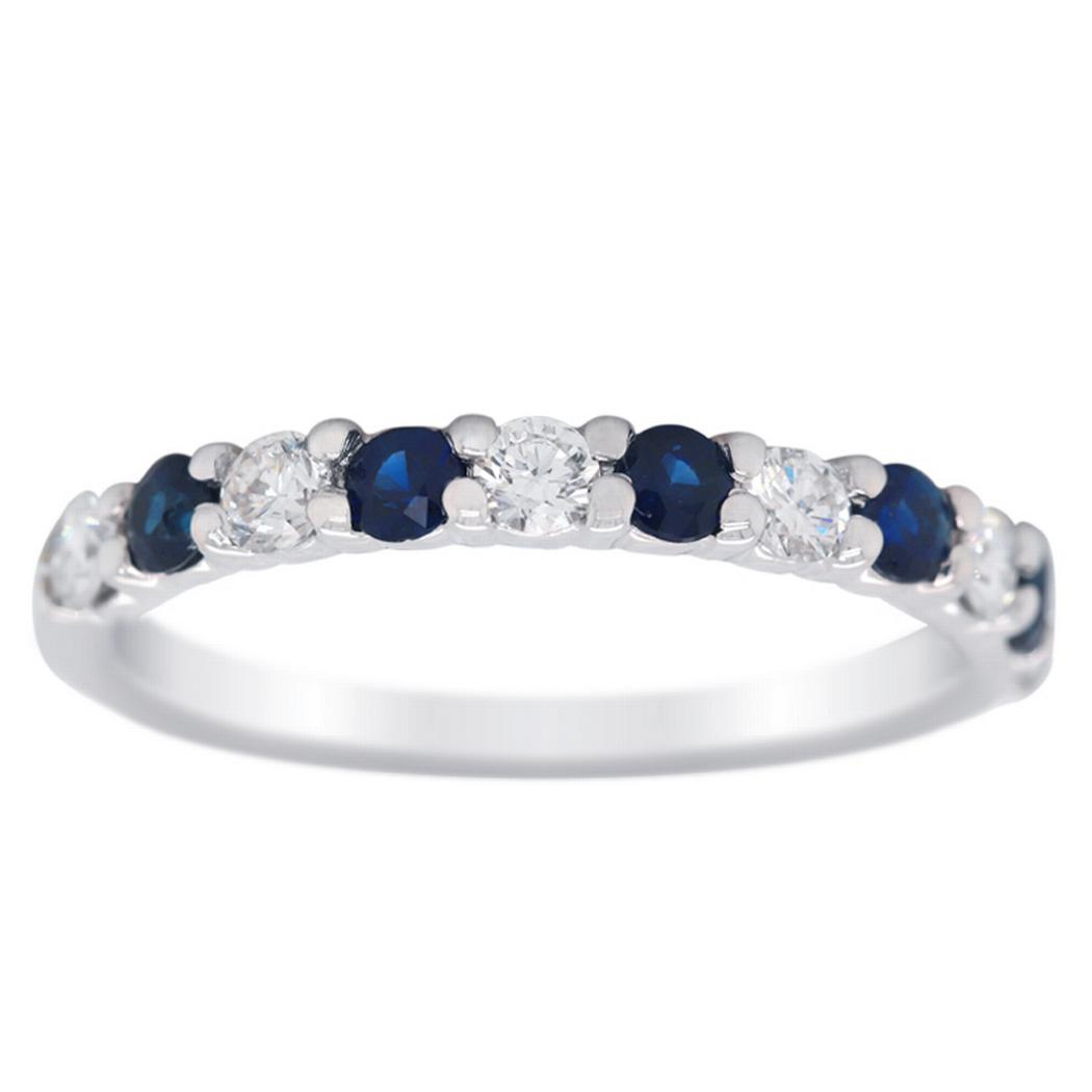 14k Gold Alternating Sapphire and Diamond Band