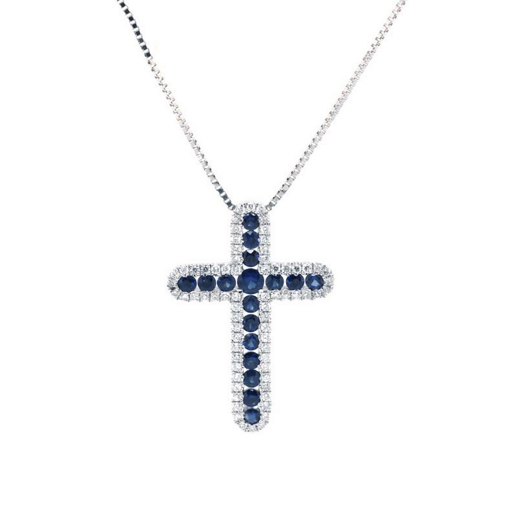 Sapphire and Diamond Cross Pendant Necklace